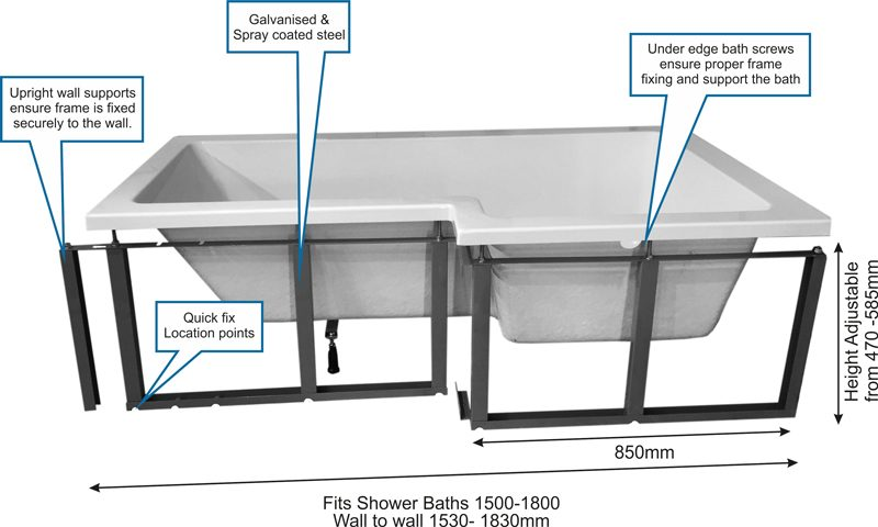 L shaped shower bath1 2